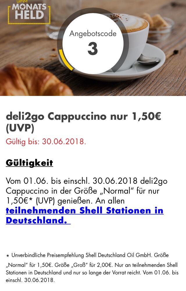 Shell: deli2go Cappuccino nur 1,50€ (UVP)