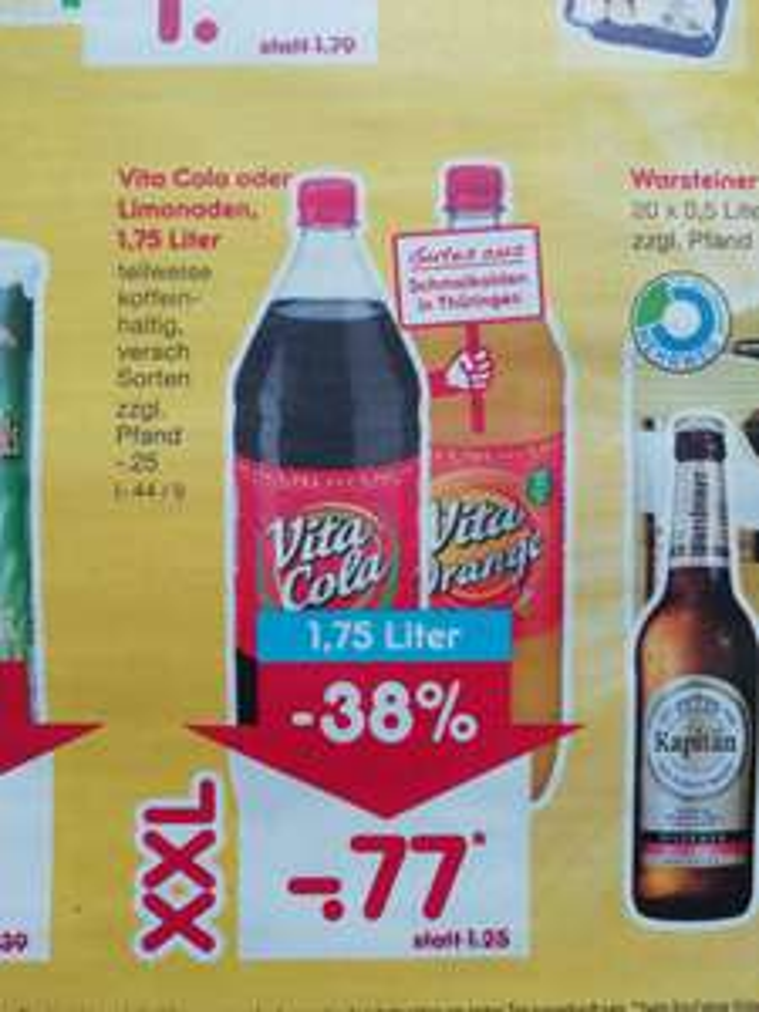 Vita Cola 1,75L Flasche bei Netto am Samstag 9.6.2018 für 0,77€ entspricht 0,44€/L  38%günstiger