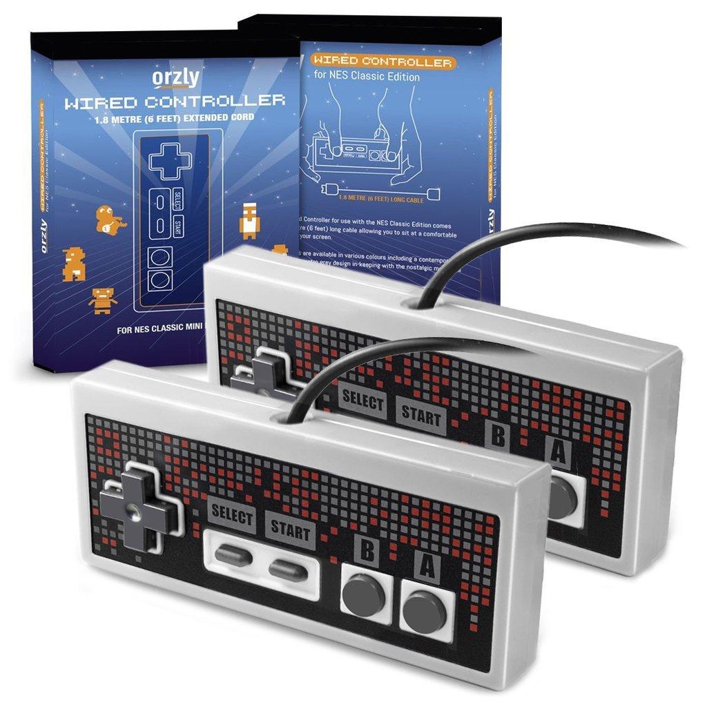 ORZLY® RetroPad for NES Classic Mini (2er PACK) - kabelgebundenes Joypad/Gamepad - 2x graue Controller mit 1.8m langem Kabel (NES Classic Edition)