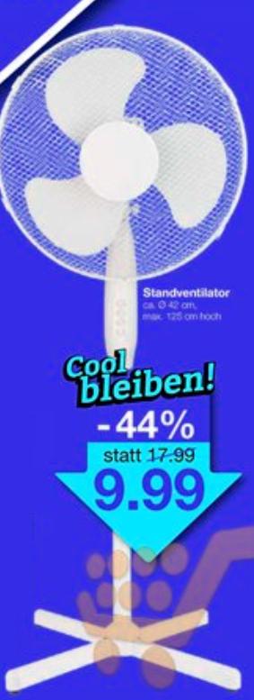 Standventilator, 42cm Durchmesser, oszillierend mit 3 Stufen für 9,99€ bei Jawoll ab 15.06.2018