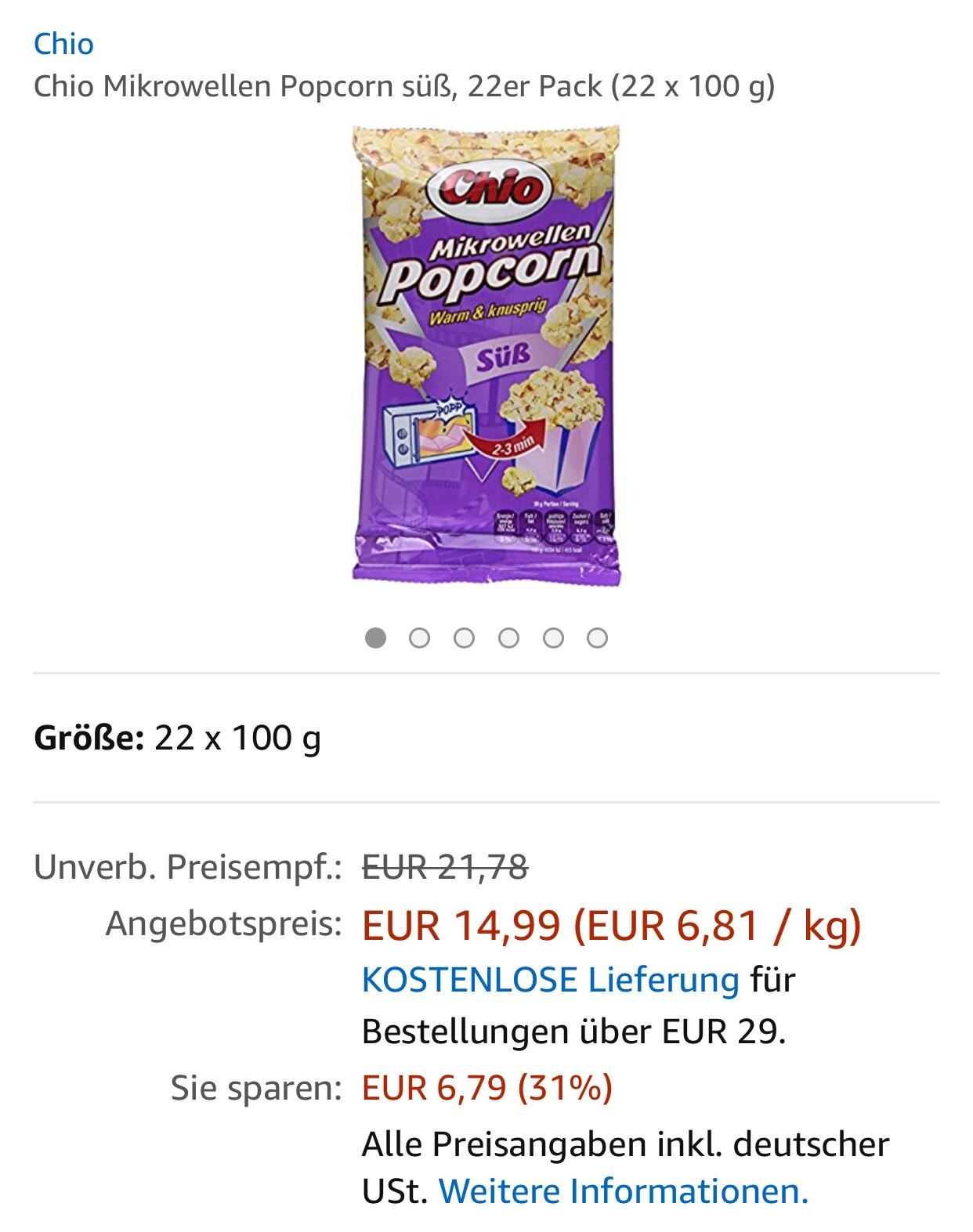 [Amazon Prime] 22er Pack Chio Mikrowellen Popcorn Süß