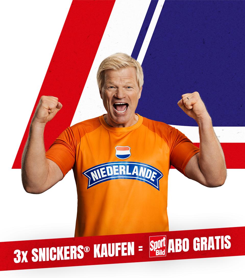 3 Packungen Snickers kaufen und 5 Ausgaben Sport Bild (Print) selbstkündigend frei Haus bekommen