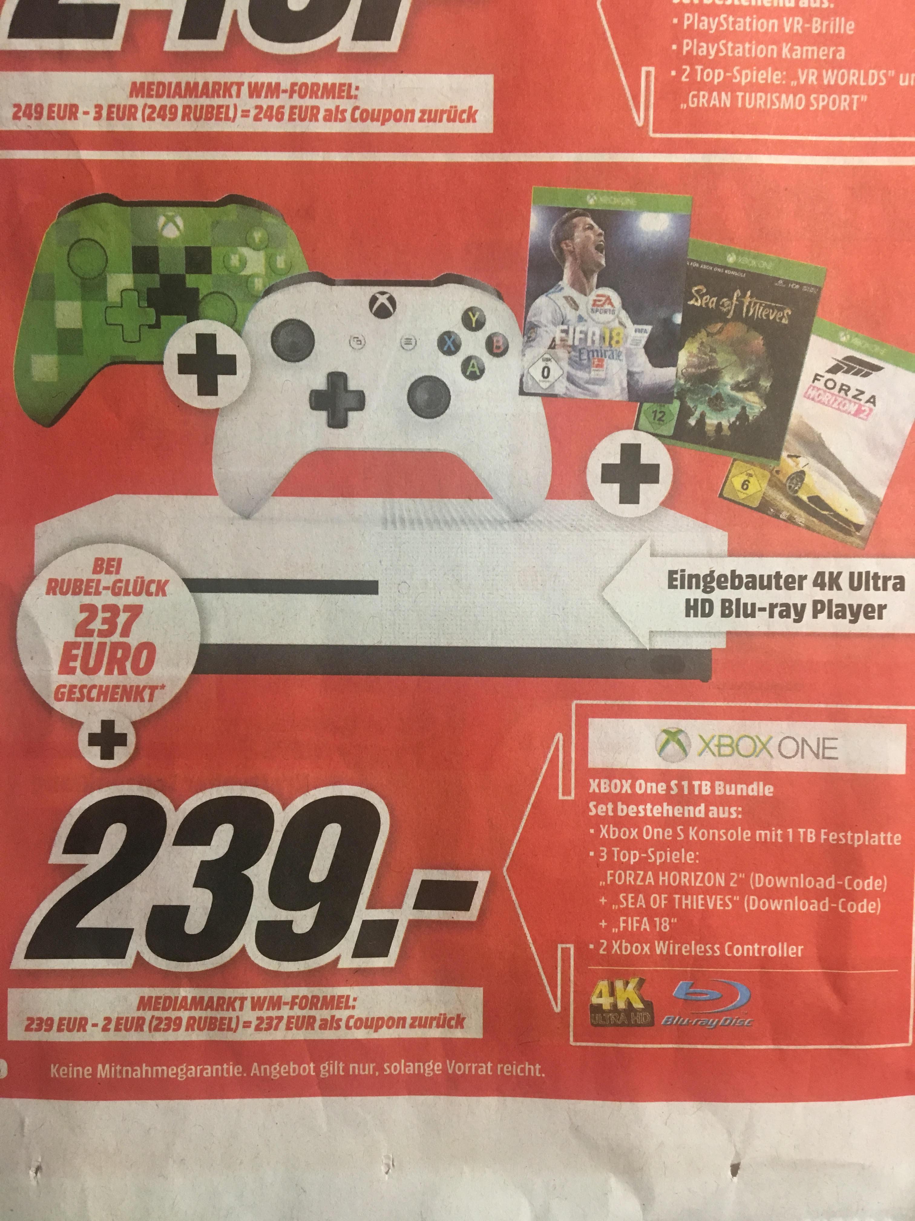 Media Markt - Xbox One S 1 TB + Fifa 18 + Sea of Thieves + Forza Horizon 2 + 2. Xbox Wireless Controller