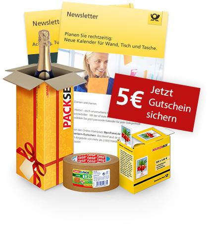 Deutsche Post eFiliale Newsletter: 5EUR Gutschein (30 MBW) bspw. Onlinecodes Paket 10er 2kg + Shoop - Paketpreise jetzt um 2 EUR gesenkt