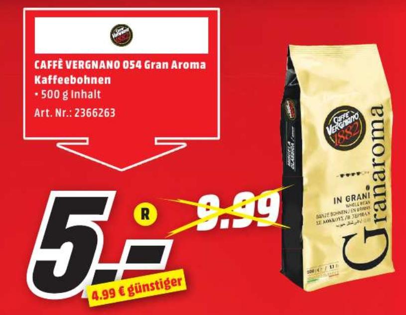 [ lokal München ] CAFFE VERGNANO 054 Gran Aroma 500g Beutel für 5€ @ Media Markt