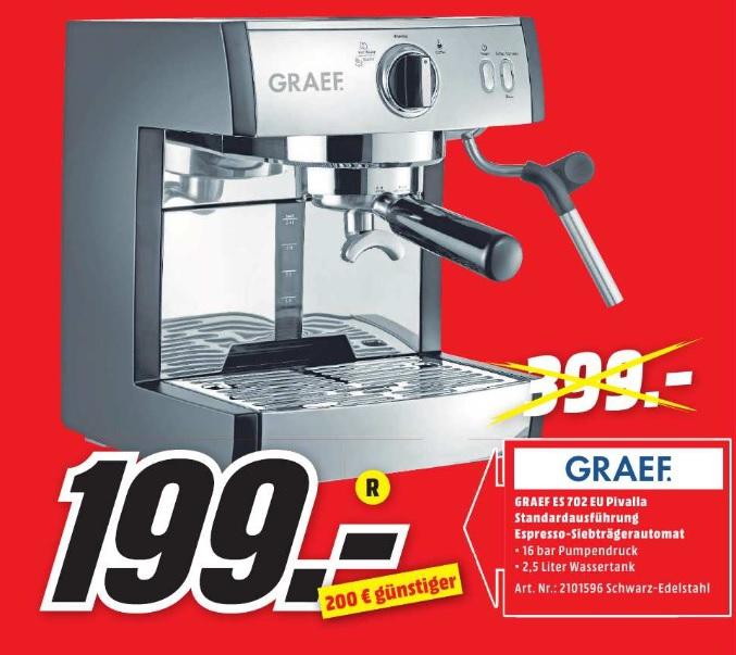 [ lokal München ] Graef ES702EU Siebträger-Espressomaschine pivalla für 199€ @ Media Markt