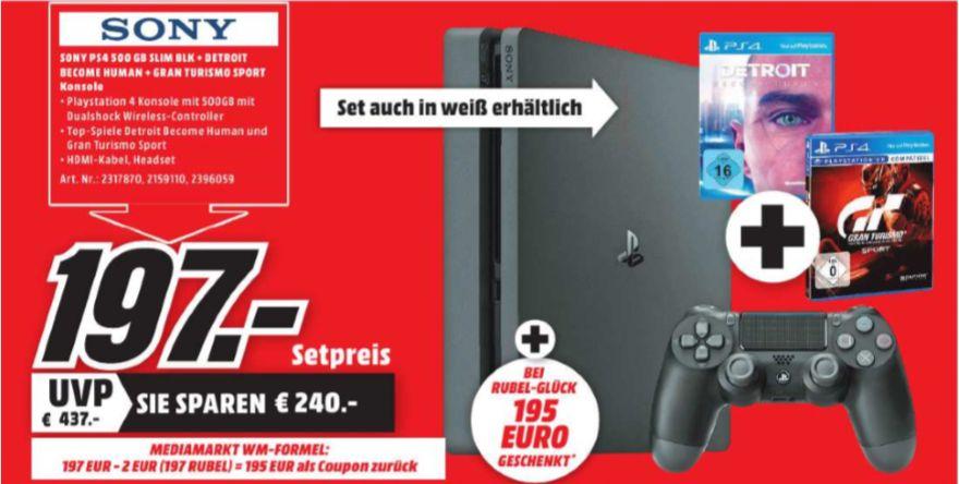 [Regional Mediamarkt Eschweiler ab 07.06] Sony PlayStation 4 (PS4) Slim 500GB + Gran Turismo: Sport + Detroit: Become Human (PS4) für 197,-€