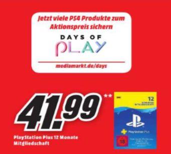 [Mediamarkt] Sony PlayStation Plus Abonnement 12 Monate für 41,99€ *Bei Abholung* (Später dann sicher auch bei anderen Händlern) **ONLINE**