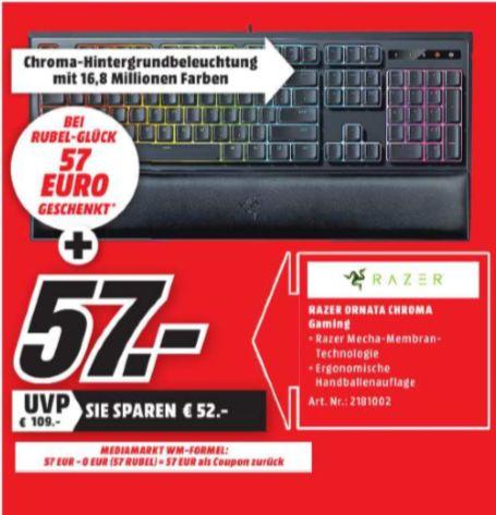 [Regional Mediamarkt Eschweiler ab 07.06] Razer Ornata Chroma Gaming Tastatur (mit den Mecha-Membran Tasten, Chroma RGB Beleuchtung und Ergonomischen Design mit Handballenauflage) für 57,-€