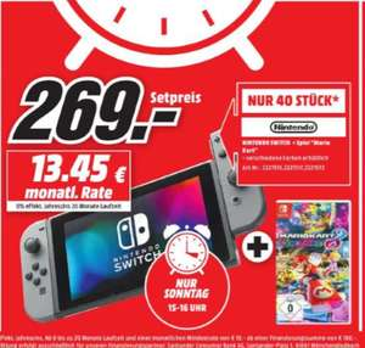 [Regional Mediamarkt Neunkirchen PLZ 66538-Sonntagsangebot-Nur von 15.00 bis 16.00] Nintendo Switch Konsole (in 2 Farben) + Mario Kart 8 Deluxe (Switch) für 269,-€