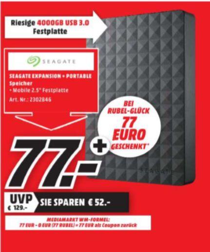 [Regional Mediamarkt Eschweiler ab 07.06] SEAGATE 4 TB Expansion+ Portable, Externe Festplatte, 2.5 Zoll für 77,-€