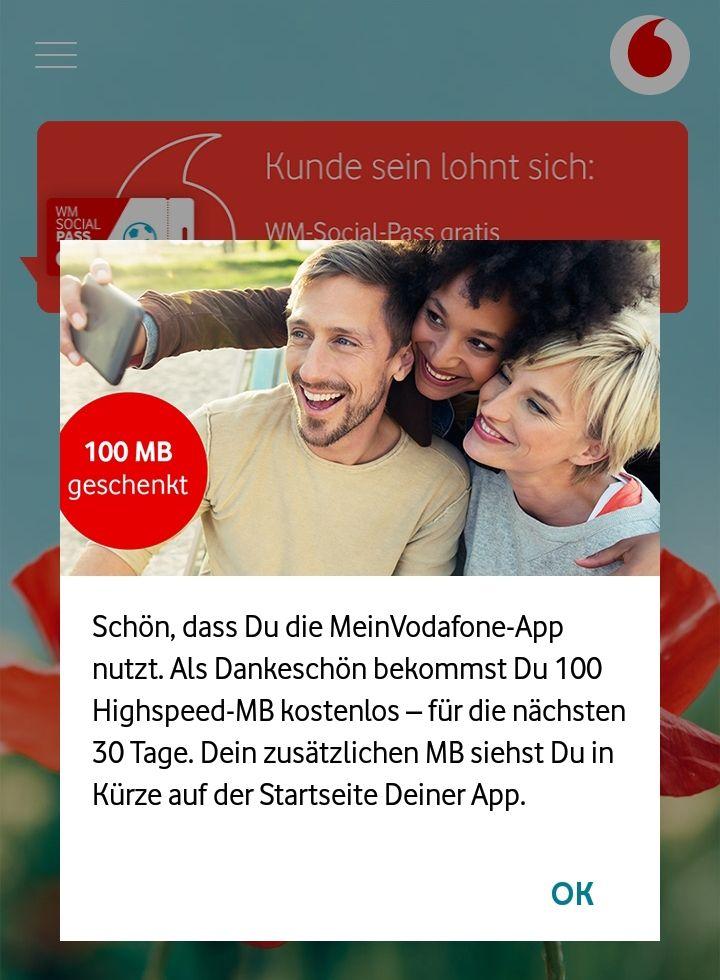 VodafoneApp schenkt wieder 100MB für Vertragskunden
