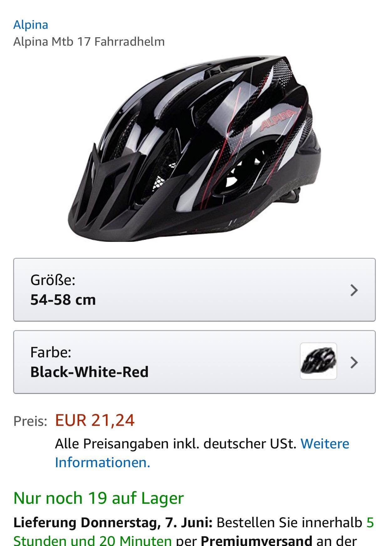 [Amazon, Prime?] Alpina Mtb Fahrradhelm - kleinere Größe 54-58 cm