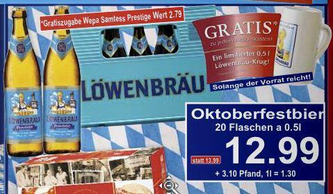 Kiste Löwenbräu 20 x 0,5L + Krug + Gratis-Zugabe 12,99€ @K+K Regional