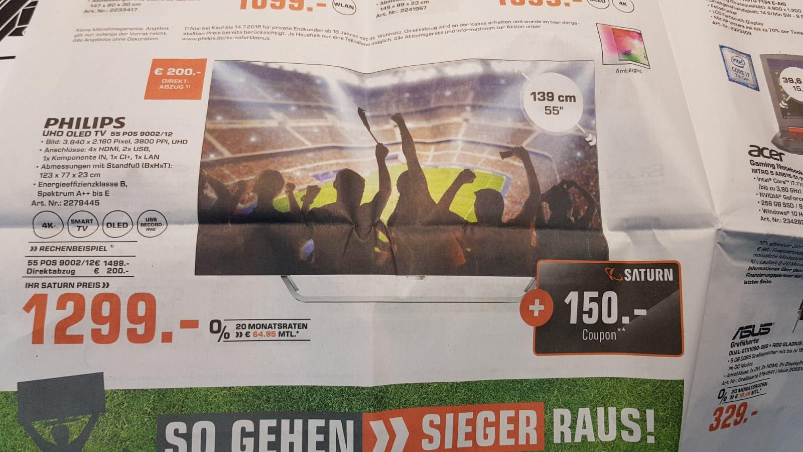 Philips 55POS9002 für 1299 € +150€ Goupon effektiv 1149€