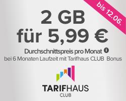 Tarifhaus D-Netz (VF) Handyvertrag mit Allnet Flat, SMS Flat und 2GB (kein LTE) für 6 Monate