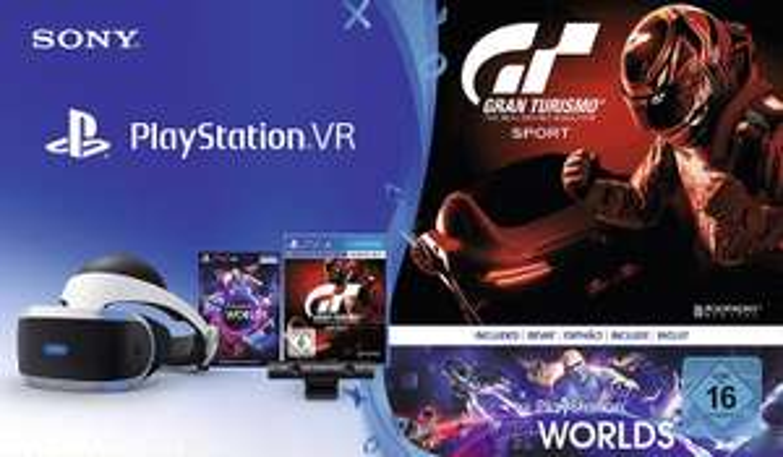 Sony PlayStation VR Brille (V1) + PlayStation Kamera V2 + Gran Turismo Sport + VR Worlds Voucher (Download Code) für 199,20€ (eBay Media Markt)