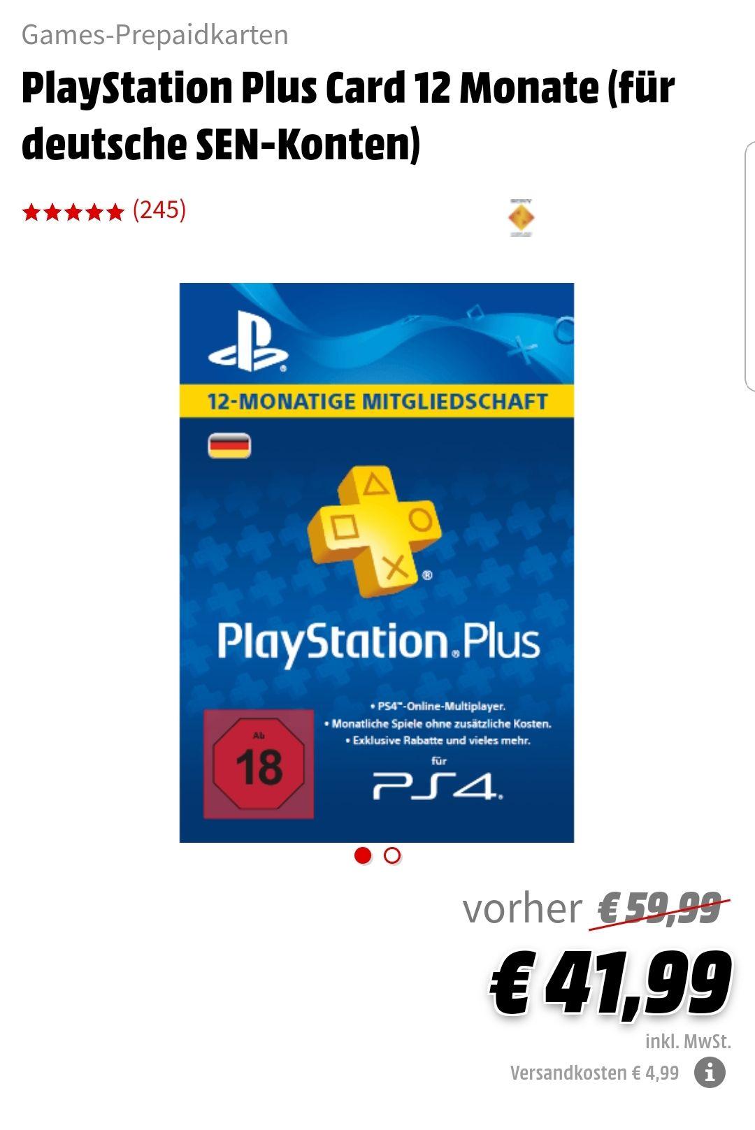 Playstation Plus 12 Monate für 41.99 € (Media Markt Abholung)