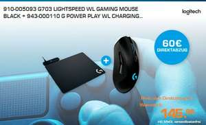[Saturn] 910-005093 G703 LIGHTSPEED WL GAMING MOUSE BLACK + 943-000110 G POWER PLAY WL CHARGING. für 85,98€