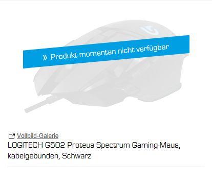 [Saturn]  Logitech G502 Proteus Spectrum RGB Tunable Gaming Maus, Schwarz (Kabelgebunden) für 37,-€