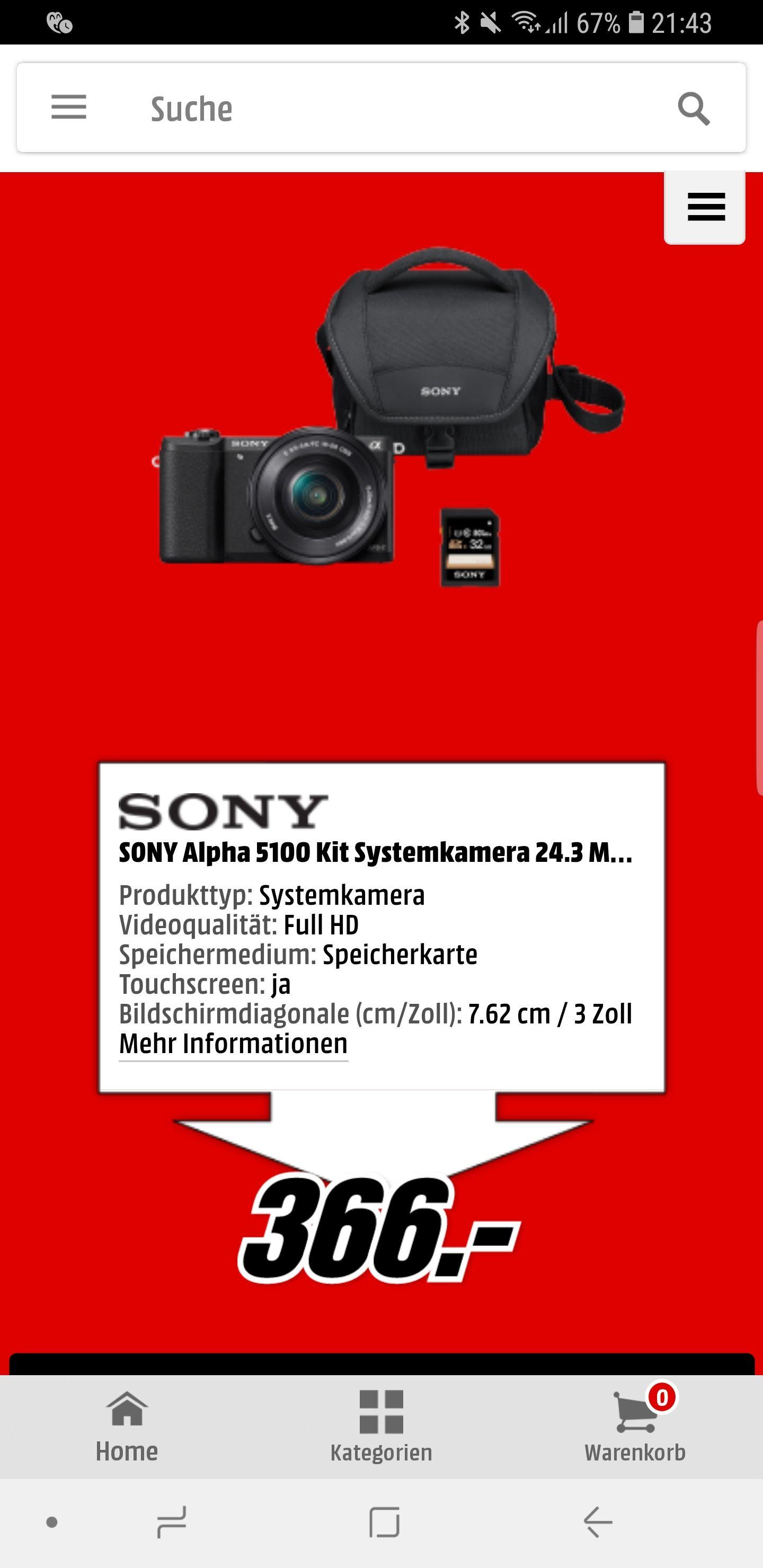 SONY Alpha 5100 Kit Systemkamera. Inkl. Tasche und Speicherkarte