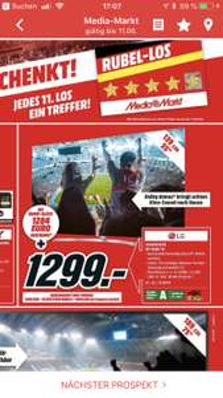 [Mediamarkt Düsseldorf] LG OLED55B7D 1299,- (Mit Losglück fast umsonst)