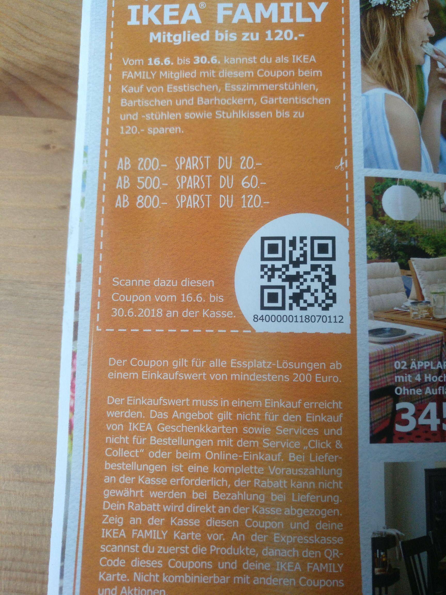 IKEA Family >= 10% sparen bei Essplätzen (Offline) auch Gartentische 16.-30.6