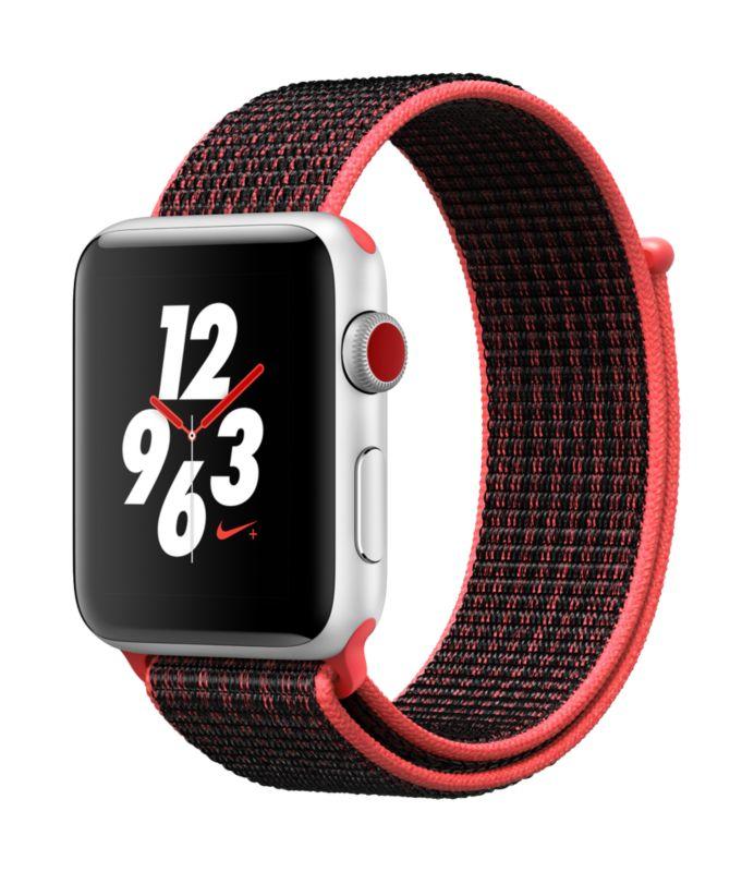 Apple Watch Series 3, Smartwatch (silber/schwarz, 42mm, Sport Loop, Aluminium, LTE) [cyberport store]