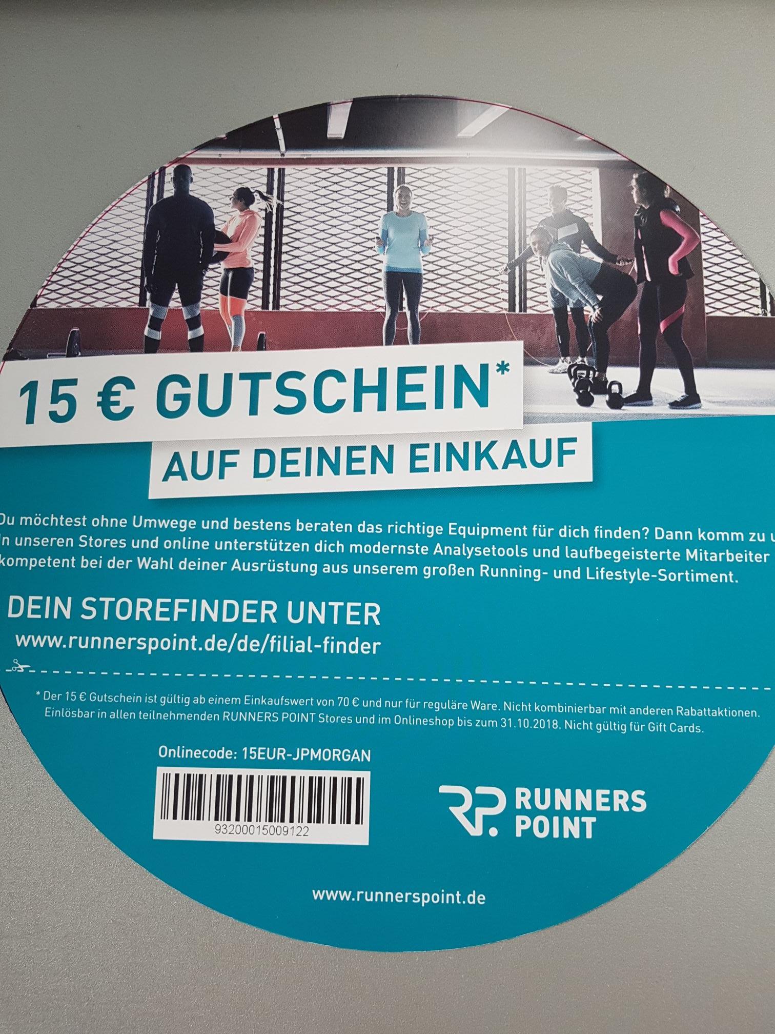 [Runners Point] 15€ Gutschein ab 70€ Einkaufswert (Online und in Stores)