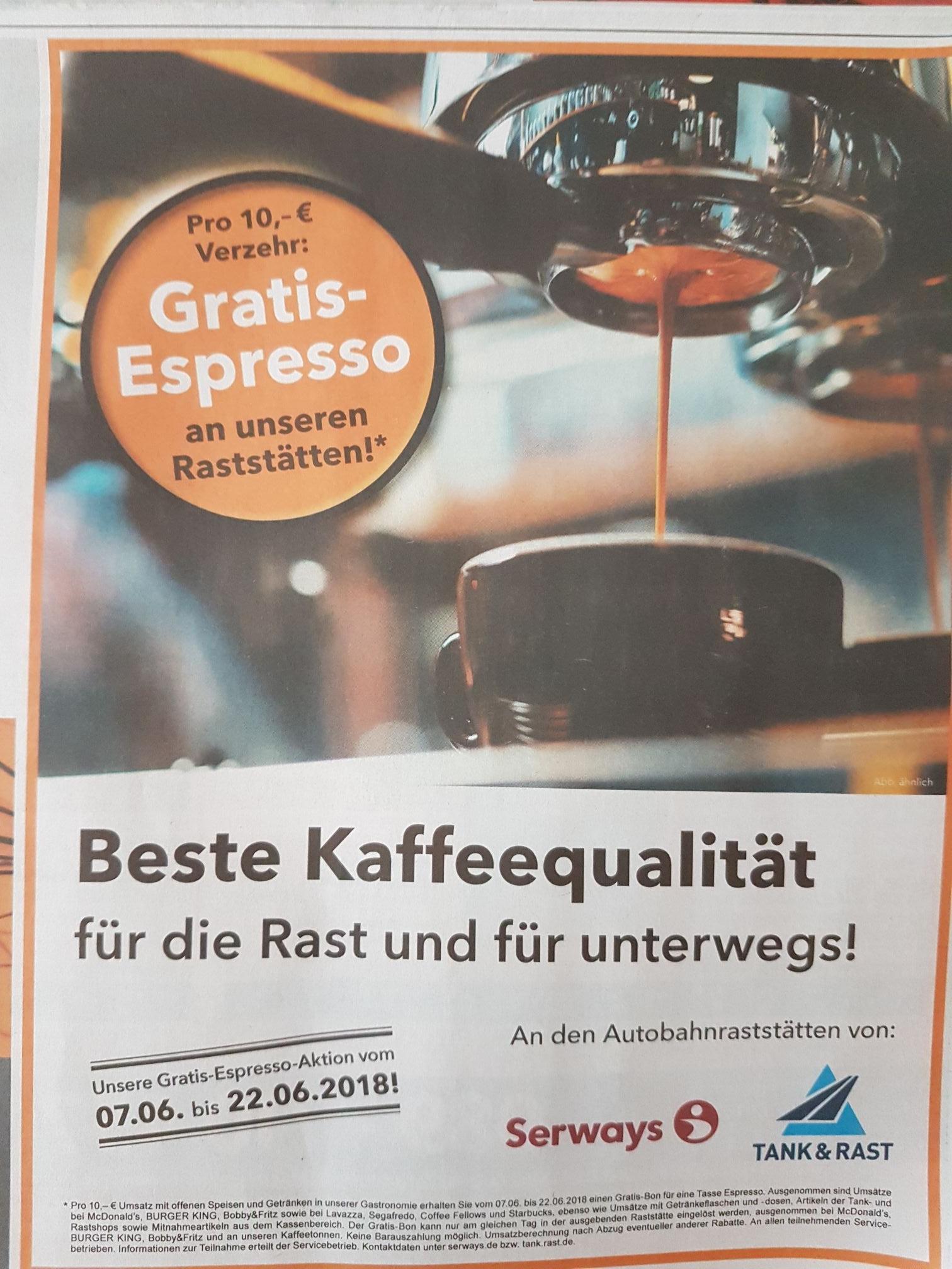 Gratis Espresso bei Serways/Tank&Rast ab 10 Euro Verzehr