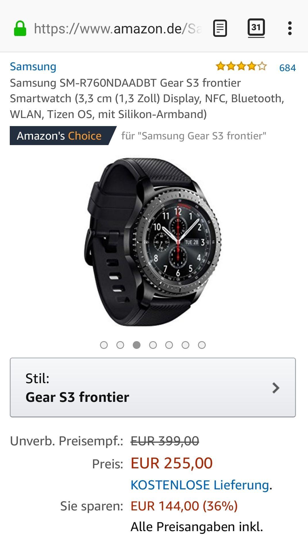 Samsung Gear S3 Frontier bei Amazon