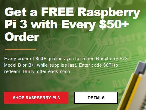 Raspberry Pi 3 B(+) kostenlos zu jeder Bestellung ab $50 (netto)