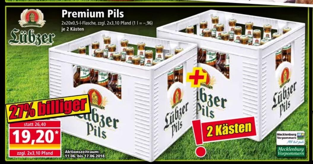 Lübzer Pils 40x0,5l für 19.20€ bei Norma [ab 11.06]