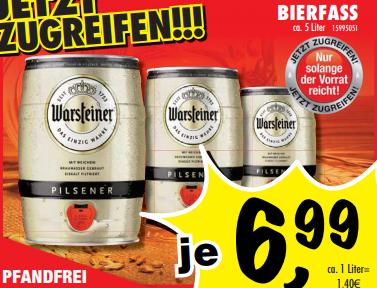 Warsteiner Pilsner 5l-Fass für 6,99€ bei Sconto