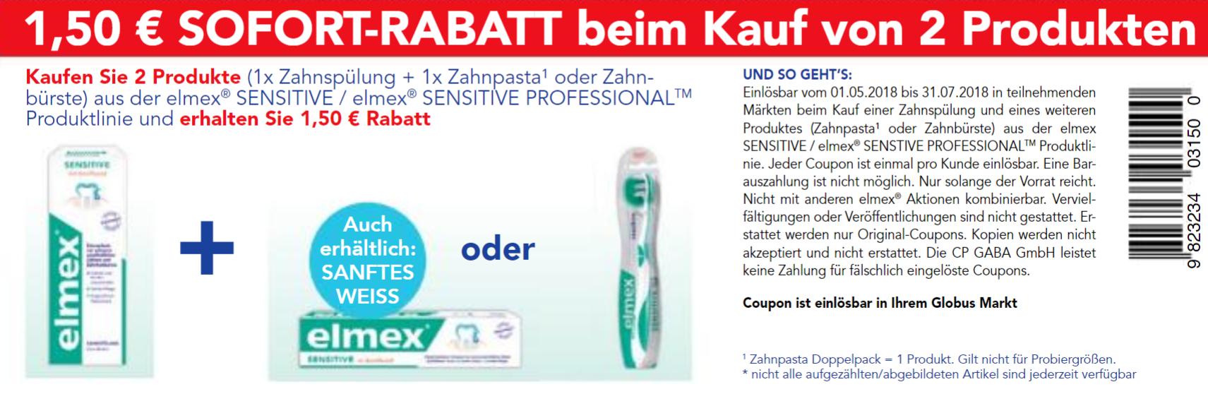 [Globus] Neuer 1,50€ Coupon für den Kauf von 2x Elmex Sensitive Produkten bis 31.07.2018