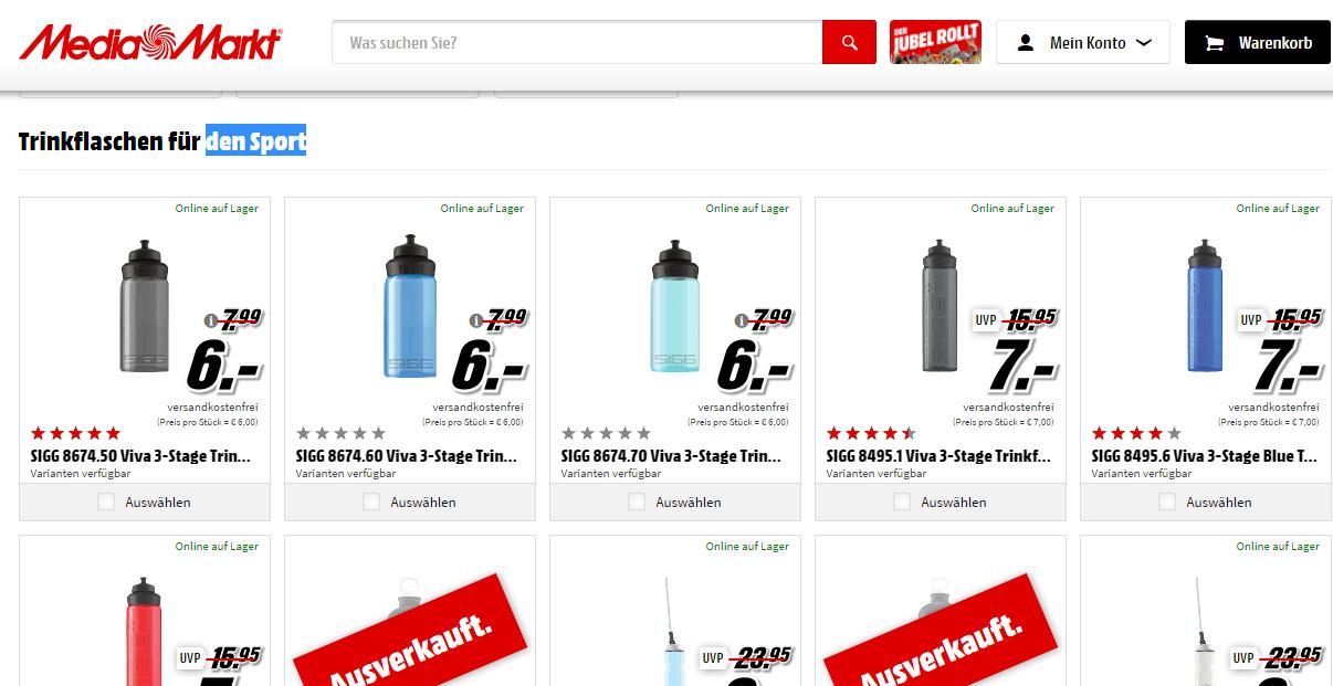 SIGG Trinkflaschen für den Sport Ab 6€