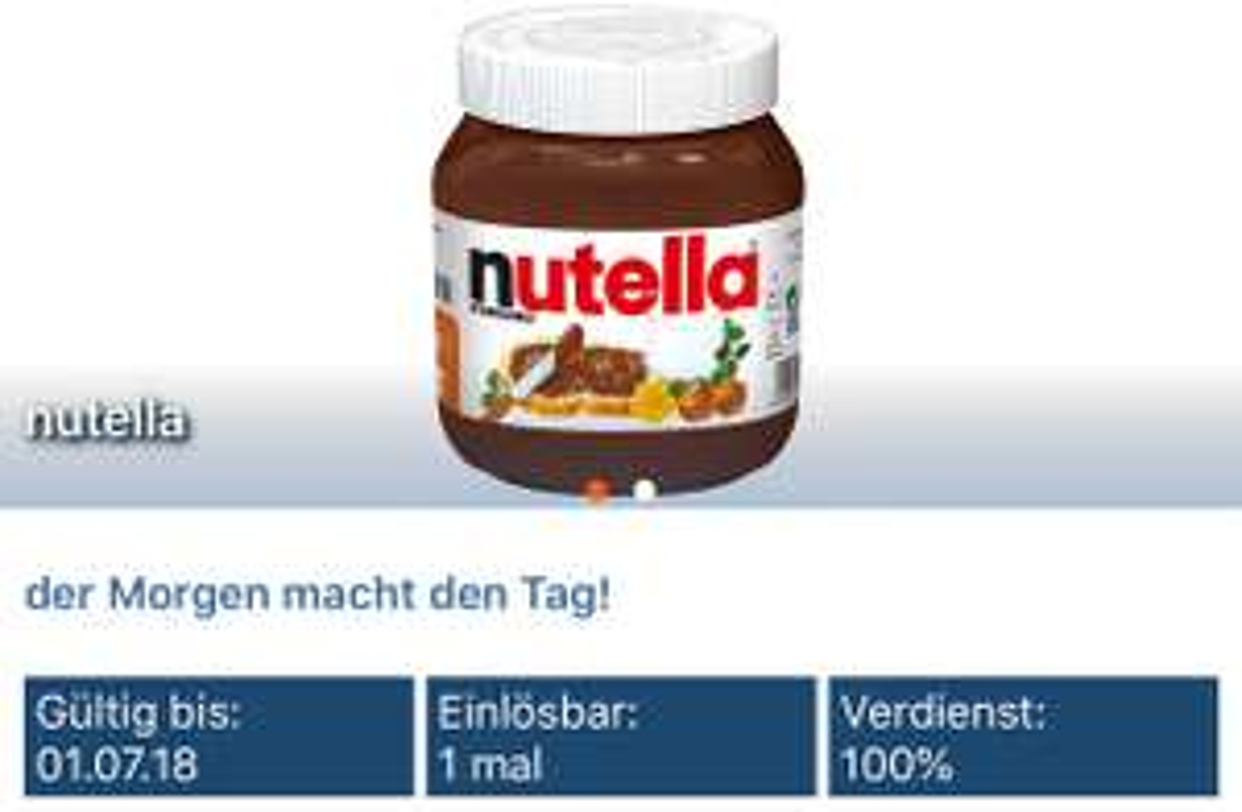Nutella kostenlos [reebate cashback]