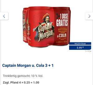 Captain Morgan & Cola 3+1 0,33l Dose bei Aldi Nord