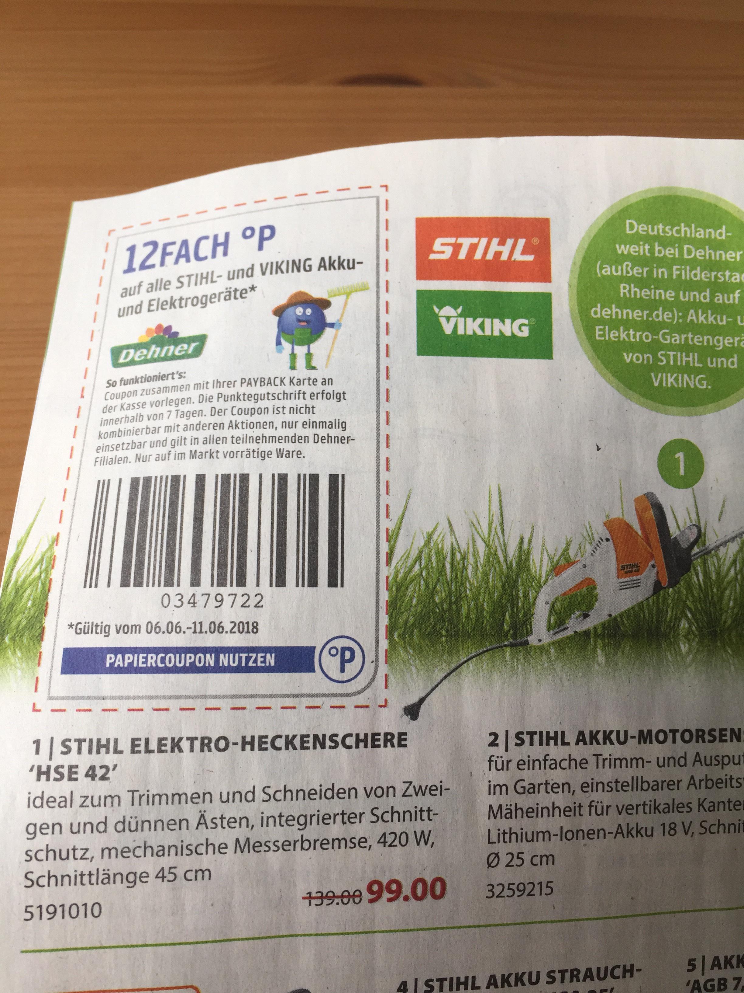 Stihl Heckenschere HSE 42 (bei teilnehmenden Stihl-Händlern/ bei Dehner mit Payback für ~89€)