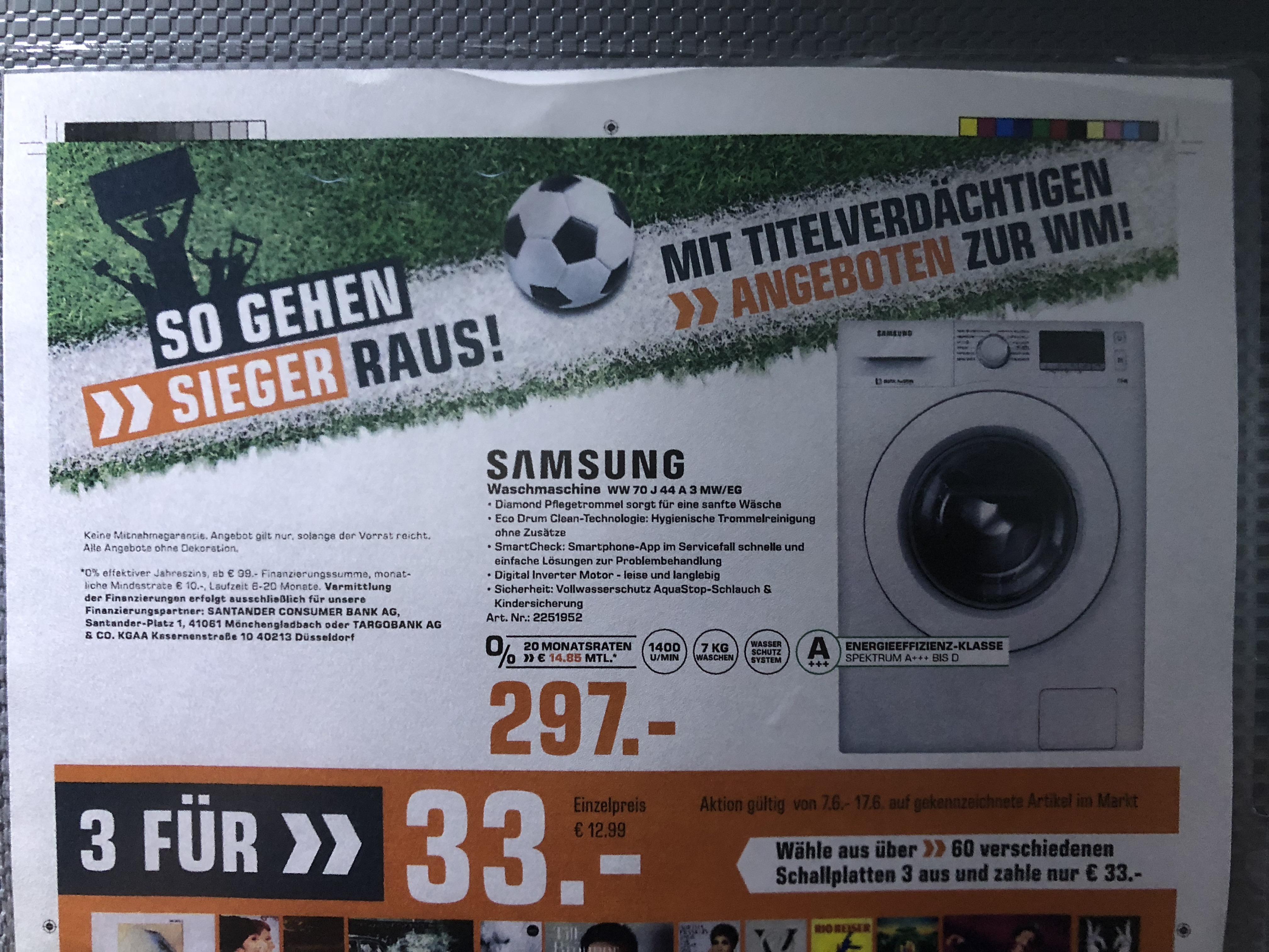 (Lokal Saturn Berlin + Potsdam) Samsung Waschmaschine WW70J44A3MW/EG A+++ 1400 U/Min 7KG für 297€