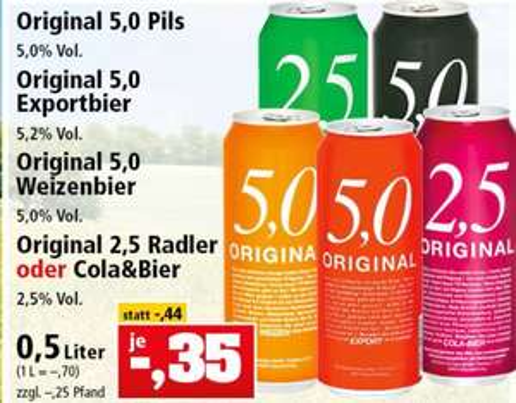 [EDEKA evtl lokal Nordbayern u. Thomas Phillips] 5,0 Original Pils, Weizenbier, Radler für 0,35€