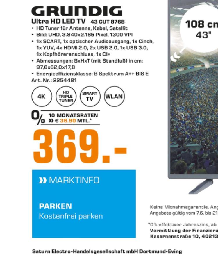 """Grundig 43 GUT 8768 Anthrazit 43"""" Zoll 4K UHD LED-TV Fernseher [Loka Saturn Dortmund Eving]"""