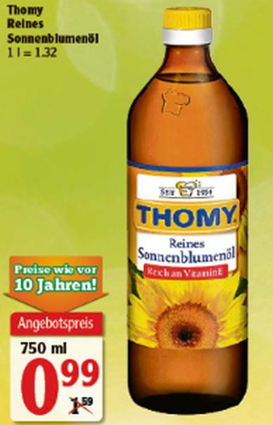[67240] 3x Thomy Sonnenblumenöl 750ml für 1,97€ (=0,876€/Liter, günstiger als Diesel)