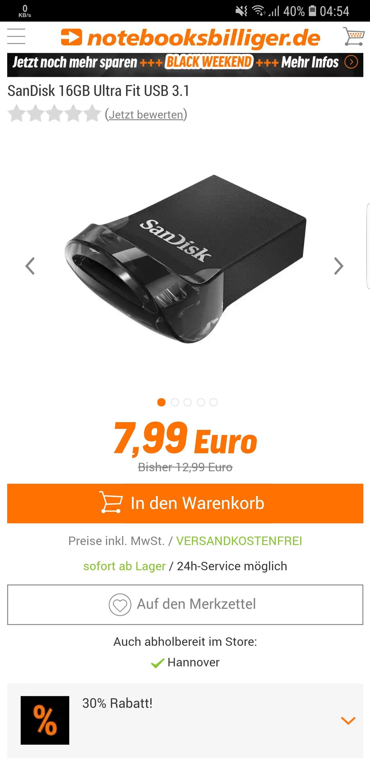 San Disk 16gb Ultra Fit  Usb Stick 3.1 bei Notebooksbilliger (Gutscheincode)