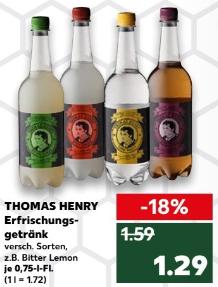 Thomas Henry, 0,75l Fl., versch. Sorten (u.a. Tonic Water, Spicy Ginger) für 1,29 € (zzgl. Pfand) @ Kaufland bundesweit ab 14.06.