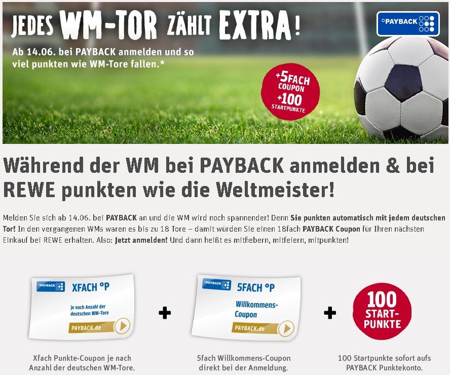 [REWE / Payback] Deutsche Tore X-fach Coupon + 5 fach Coupon + 100 Paybackpunkte bei Neuanmeldung zur WM