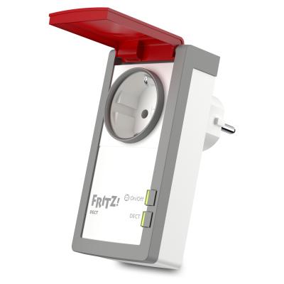 AVM FRITZ!DECT 210 intelligente Steckdose für Smart Home, mit Spritzwasserschutz (IP44), Stromverbr. messbar