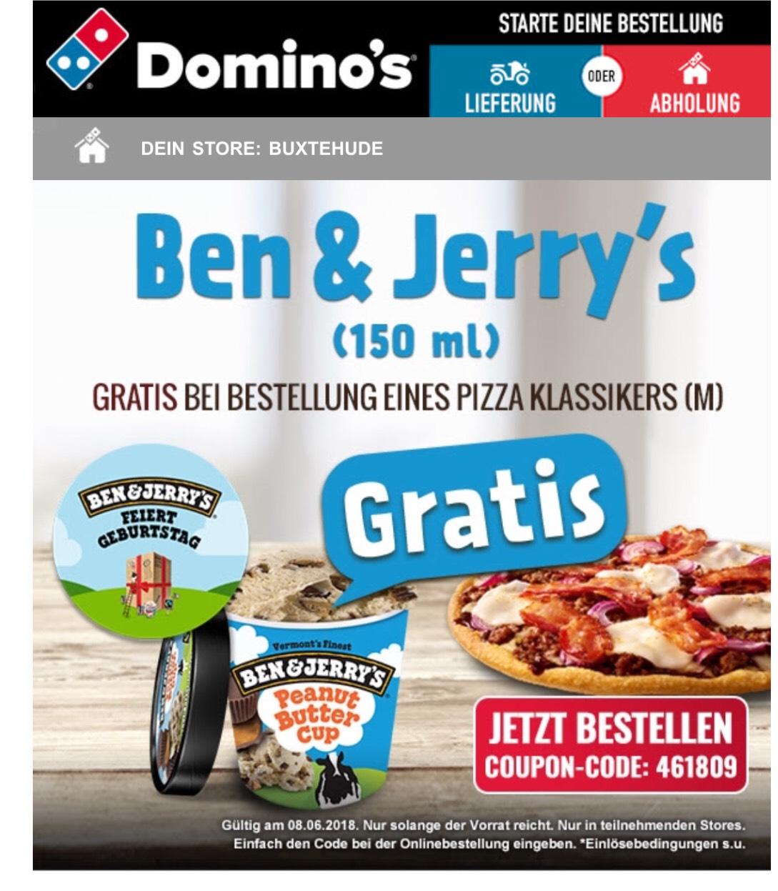 Gratis Ben&Jerrys (150ml) Eis bei Bestellung einer Klassik-Pizza