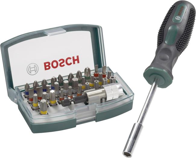 [Voelkner] Bosch Accessories Bit-Set 32teilig Promoline 2607017189 Schlitz, Kreuzschlitz Phillips, Kreuzschlitz Pozidriv, Innen-Sechskant