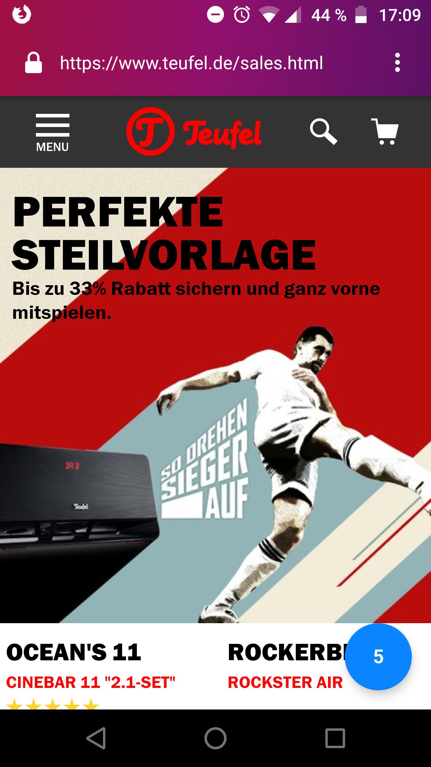 Teufel.de - Perfekte Steilvorlage (bis zu 33%)